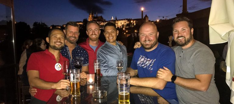 James and Jeremy with friends in Prague